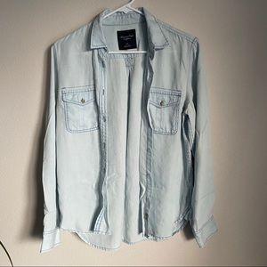 Fake Jean Button Down Blouse American Eagle
